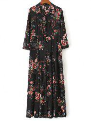 Floral Print Maxi Shirt Dress - BLACK S