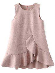 Ruffle Suede Réservoir A Dress Ligne - Pale Rose Gris L