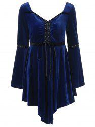 Velvet Asymmetrical Plus Size Lace Up Bodice Dress