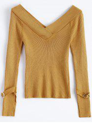 Off Shoulder V Neck Rib Sweater