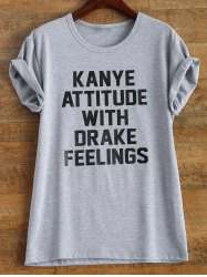 Letter Print Roll Sleeve Funny T-Shirt - GRAY L