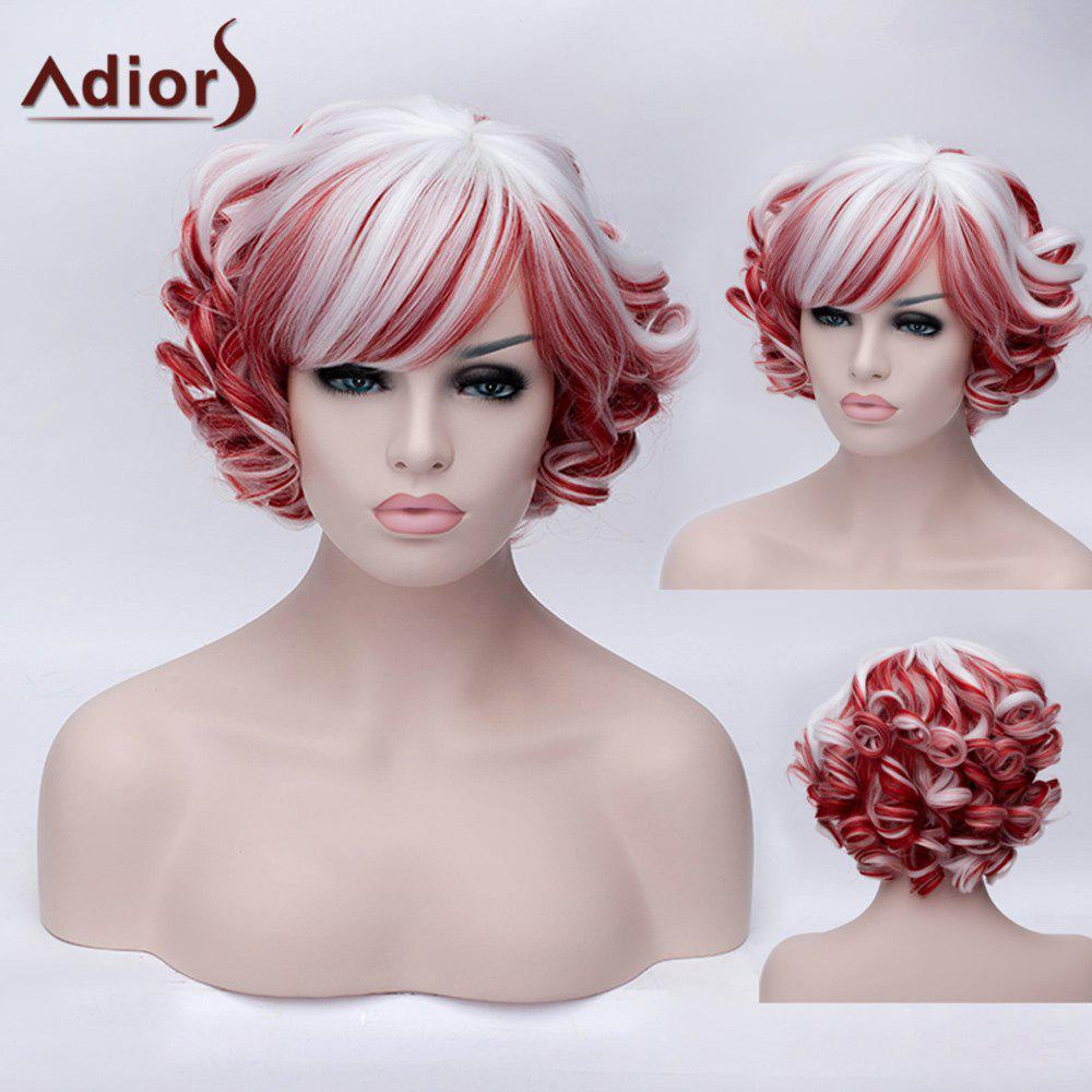 Adiors Short Inclined Bang Colormix Curly Party Synthetic WigHAIR<br><br>Color: COLORMIX; Type: Full Wigs; Cap Construction: Capless; Style: Curly; Cap Size: Average; Material: Synthetic Hair; Bang Type: Side; Length: Short; Occasion: Party; Length Size(CM): 30; Weight: 0.240kg; Package Contents: 1 x Wig;