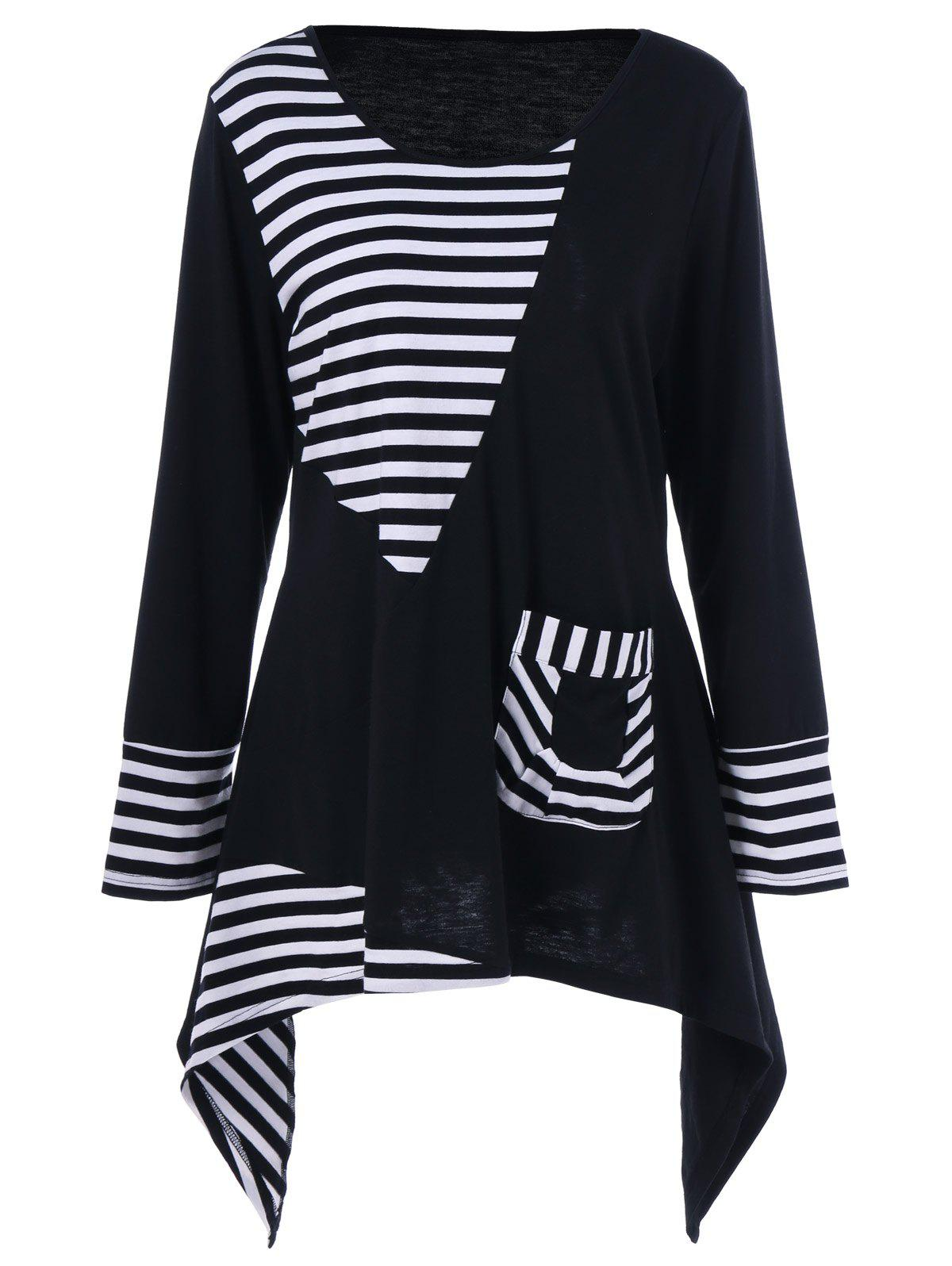 Plus Size Asymmetric Striped Tunic T-ShirtWOMEN<br><br>Size: XL; Color: WHITE AND BLACK; Material: Polyester,Spandex; Shirt Length: Long; Sleeve Length: Full; Collar: Scoop Neck; Style: Fashion; Season: Fall,Spring; Embellishment: Pockets; Pattern Type: Striped; Weight: 0.3200kg; Package Contents: 1 x T-Shirt;