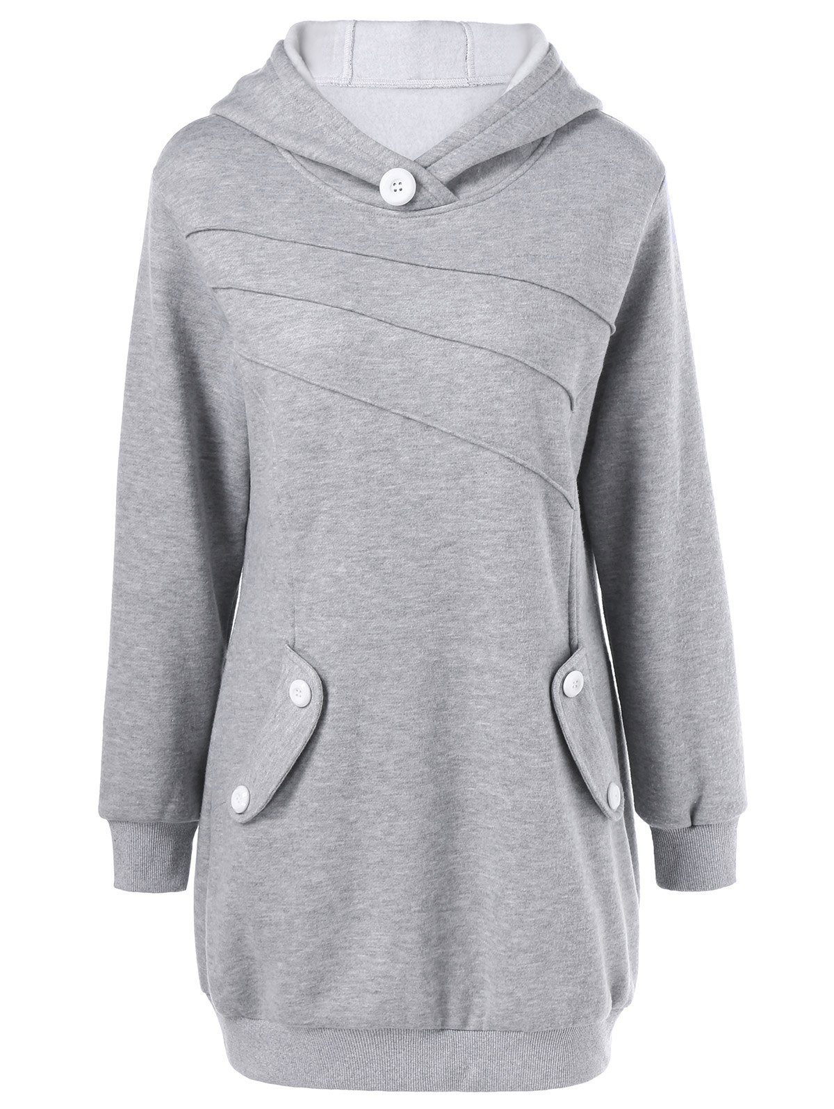 Chic Button Decorated Pockets Longline Hoodie