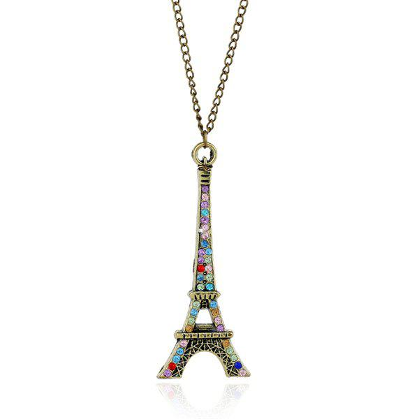 Rhinestone Eiffel Tower Sweater ChainJEWELRY<br><br>Color: BRONZE-COLORED; Gender: For Women; Necklace Type: Link Chain; Metal Type: Alloy; Style: Trendy; Shape/Pattern: Others; Length: Girth: 70CM; Weight: 0.050kg; Package Contents: 1 x Sweater Chain;