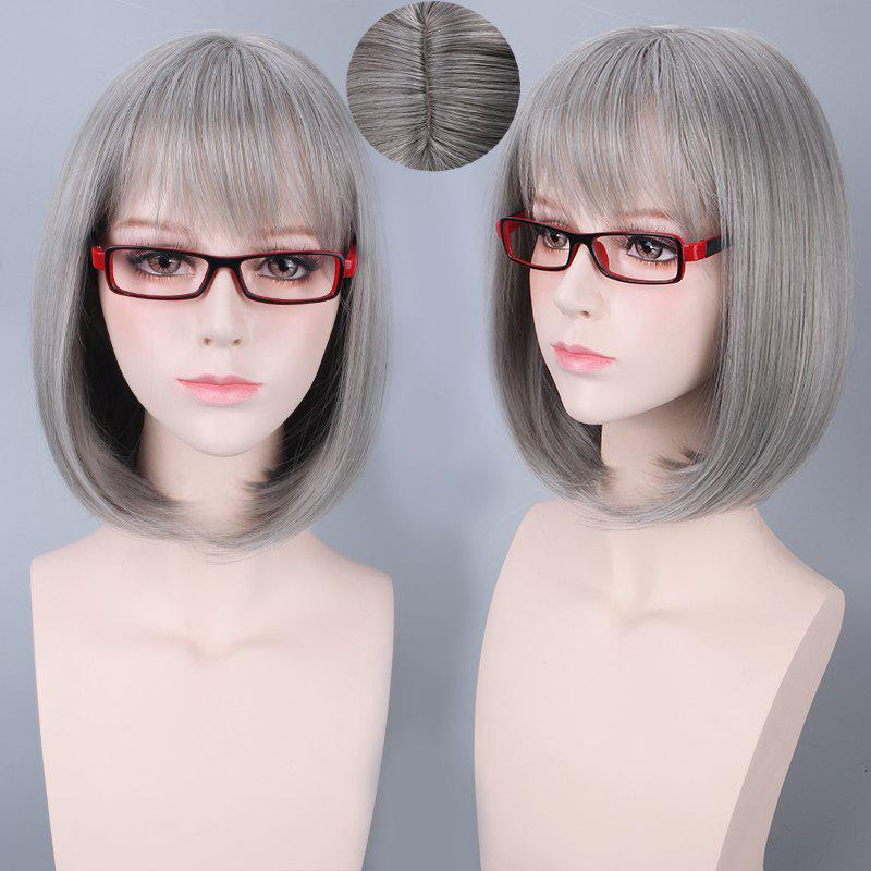 Short Neat Bang Bob Straight Harajuku Synthetic Cosplay WigHAIR<br><br>Color: SILVER GRAY; Type: Full Wigs; Style: Straight; Material: Synthetic Hair; Bang Type: Full; Length: Short; Length Size(CM): 35; Weight: 0.250kg; Package Contents: 1 x Wig;