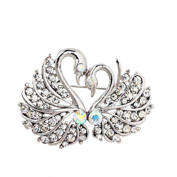 Double Swan Rhinestone BroochJEWELRY<br><br>Color: SILVER WHITE; Brooch Type: Brooch; Gender: For Women; Metal Type: Alloy; Style: Trendy; Shape/Pattern: Animal; Length: 4.5CM; Weight: 0.030kg; Package Contents: 1 x Brooch;