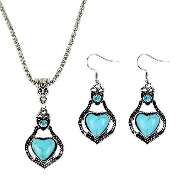 Faux Turquoise Heart Pendant Necklace and EarringsJEWELRY<br><br>Color: CYAN; Item Type: Pendant Necklace; Gender: For Women; Necklace Type: Popcorn Chain; Metal Type: Alloy; Style: Trendy; Shape/Pattern: Heart; Length: 50CM; Weight: 0.060kg; Package Contents: 1 x Necklace  1 x Earrings (Pair);
