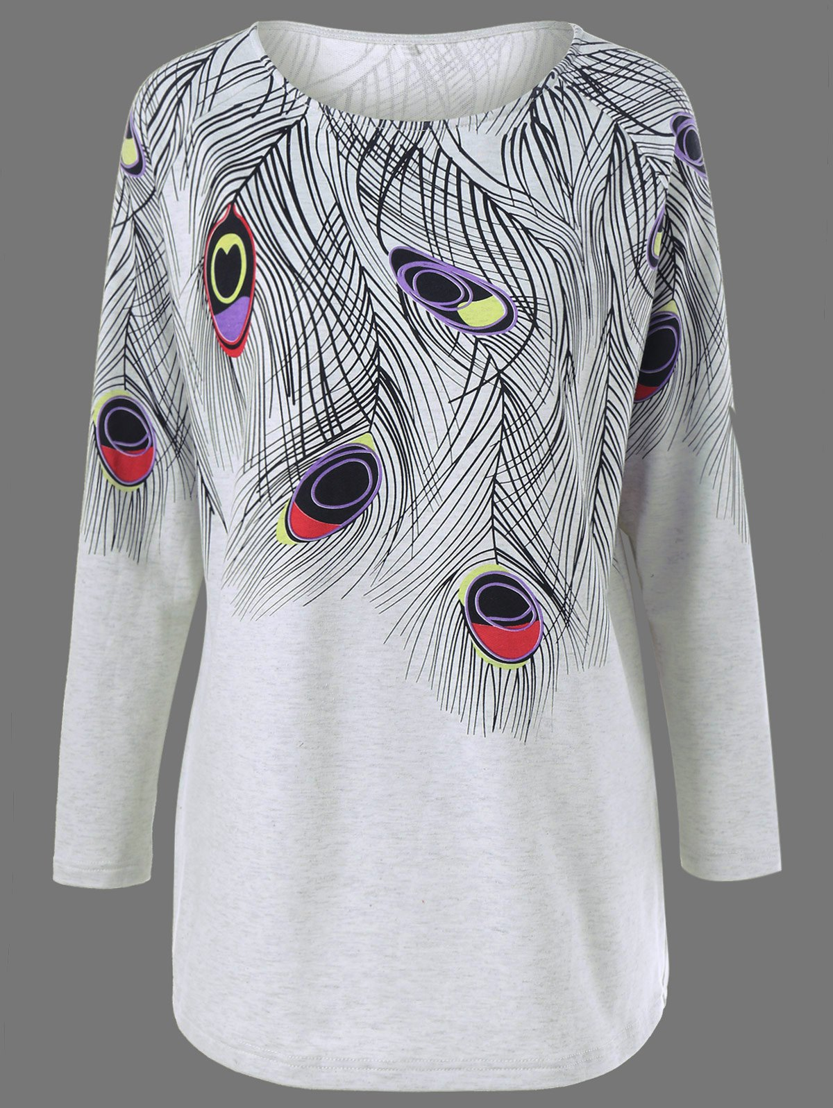 Plus Size Feather Print Longline T-ShirtWOMEN<br><br>Size: XL; Color: LIGHT GRAY; Material: Cotton Blends,Polyester,Spandex; Shirt Length: Long; Sleeve Length: Full; Collar: Round Neck; Style: Fashion; Season: Fall,Spring; Pattern Type: Print; Weight: 0.320kg; Package Contents: 1 x T-Shirt;