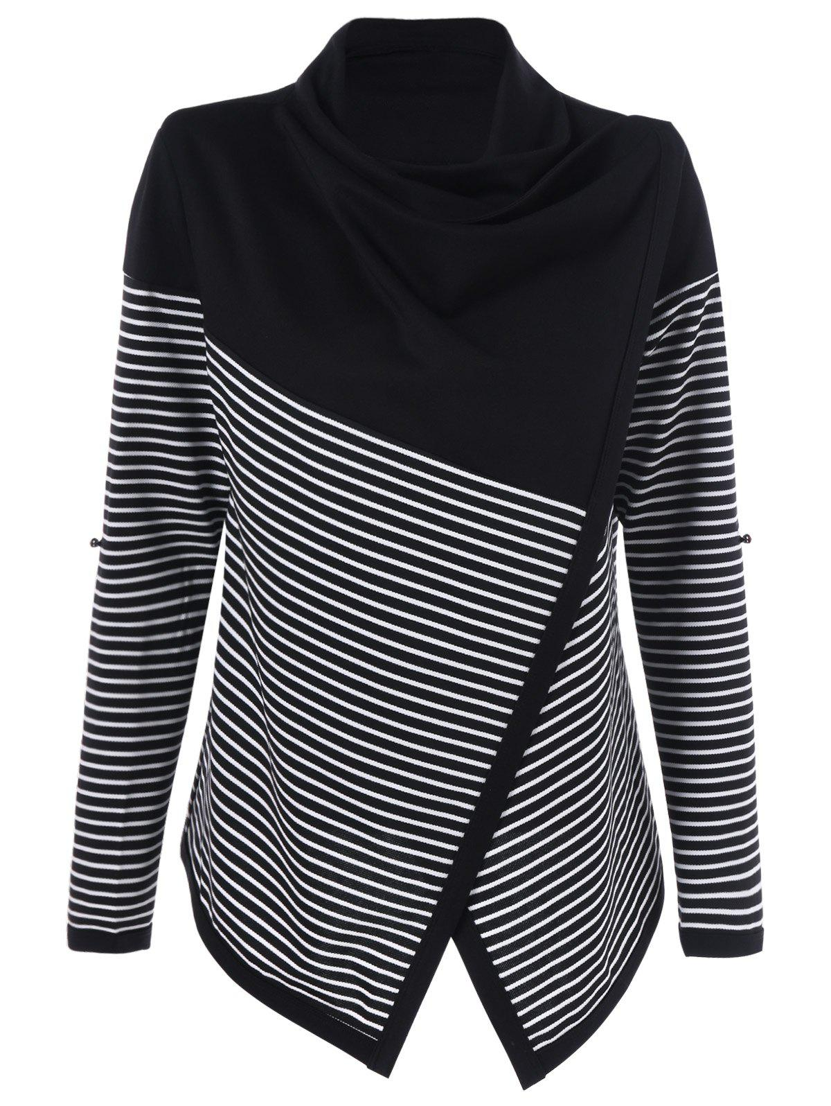 Cowl Neck Surplice Striped KnitwearWOMEN<br><br>Size: M; Color: STRIPE; Type: Pullovers; Material: Polyester,Spandex; Sleeve Length: Full; Collar: Cowl Neck; Style: Fashion; Pattern Type: Striped; Season: Fall,Spring,Winter; Weight: 0.370kg; Package Contents: 1 x Knitwear;