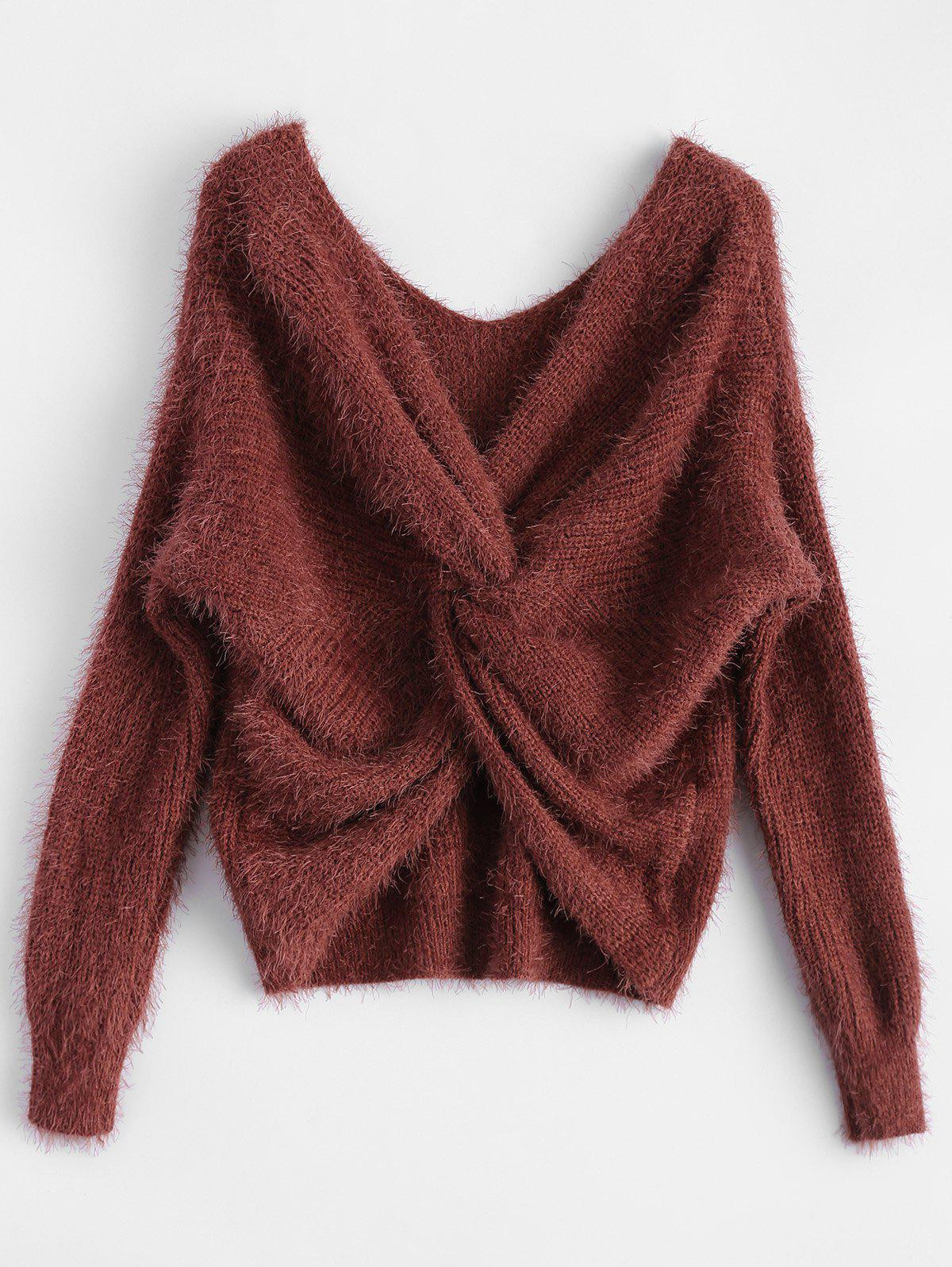 Twisted Back Chenille SweaterWOMEN<br><br>Size: ONE SIZE; Color: CLARET; Type: Pullovers; Material: Acrylic,Cotton,Polyester; Sleeve Length: Full; Collar: V-Neck; Style: Fashion; Pattern Type: Solid; Season: Fall,Spring,Winter; Weight: 0.4700kg; Package Contents: 1 x Sweater;