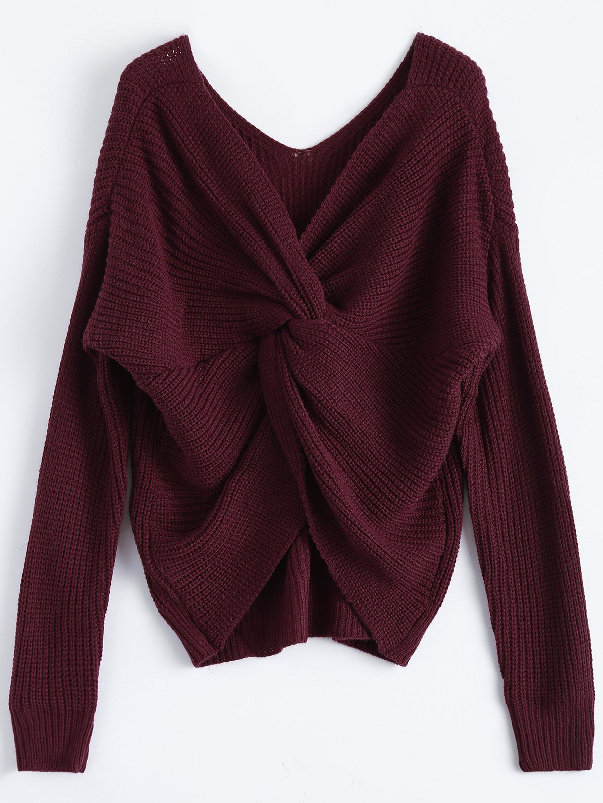 V Neck Twisted Back SweaterWOMEN<br><br>Size: ONE SIZE; Color: BURGUNDY; Type: Pullovers; Material: Acrylic,Cotton,Polyester; Sleeve Length: Full; Collar: V-Neck; Style: Fashion; Pattern Type: Solid; Season: Fall,Spring,Winter; Weight: 0.4700kg; Package Contents: 1 x Sweater;