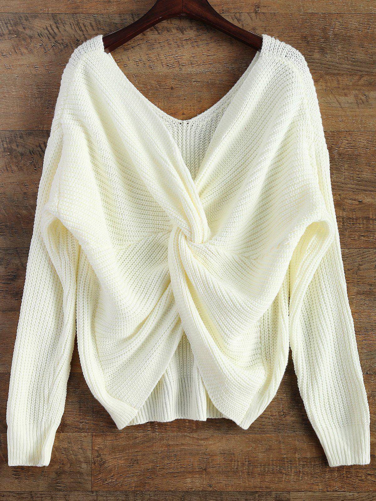Fancy V Neck Twisted Back Sweater