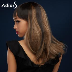 Attractive Full Bang Long Synthetic Silky Straight Black Brown Ombre Adiors Wig For Women -