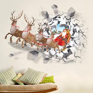 3D Vinyl Removable Christmas Milu Deer Car Wall Stickers - Colorful