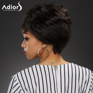 Elegant Short Black Brown Capless Fluffy Curly Synthetic Wig For Women - BLACK BROWN