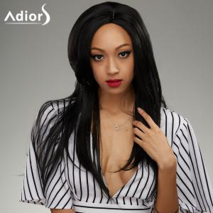 Attractive Black Straight Capless Long Side Bang Synthetic Wig For Women - BLACK