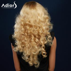 Sparkling Golden Mixed Long Fluffy Curly Side Parting Synthetic Wig -