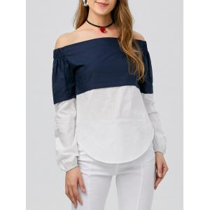 Off The Shoulder Color Block Slit Top - Blue And White - S