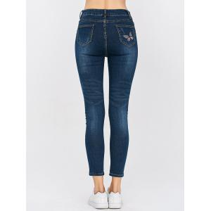 High Waisted Butterfly Embroidered Cropped Skinny Jeans - BLUE 32