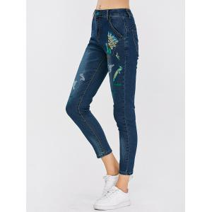 Peacock Embroidered High Waist Jeans -