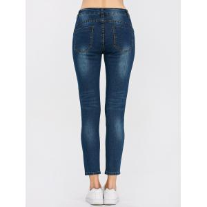 Peacock Embroidered High Waist Jeans - DEEP BLUE 28