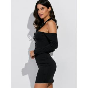 Cold Shoulder Lace Up Bodycon Halter Club Dress -