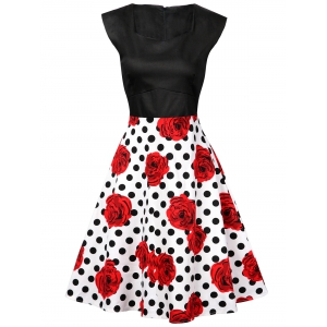 Polka Dot Floral Knee Length Flare Dress