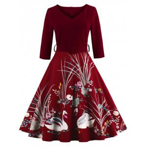 Vintage Printed Fit and Flare Waisted Dress - Burgundy - 4xl