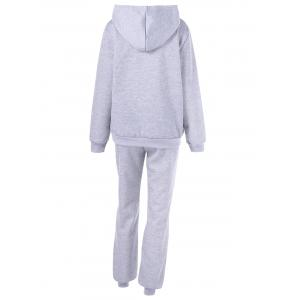 Hooded Letter Graphic Sweatshirt with Jogger Pants - LIGHT GRAY M