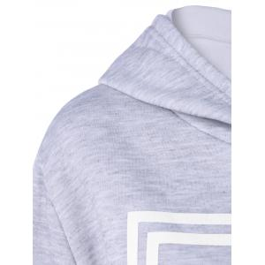 Hooded Letter Graphic Sweatshirt with Jogger Pants - LIGHT GRAY S