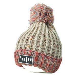 Color Block Cable Knit Pom Hat with Labelling