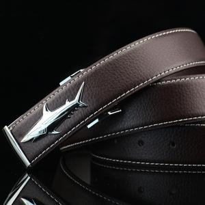 Alloy Shark Covered Pin Buckle Faux Leather Belt - DARK COFFEE