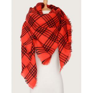 Plaid Pattern Shawl Wrap Blanket Scarf with Fringed - Red