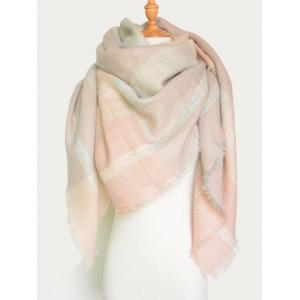 Plaid Pattern Knit Blanket Shawl Wrap Scarf with Fringed - Pink