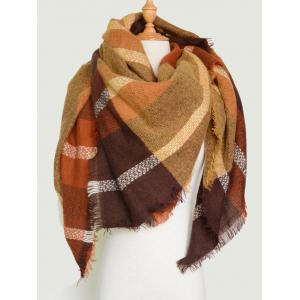 Plaid Pattern Knit Blanket Shawl Wrap Scarf with Fringed - Brown