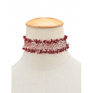 Fringed Knitted Choker Necklace - Wine Red - S