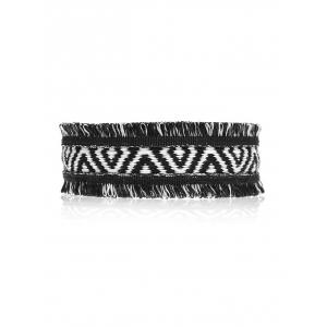 Fringed Geometric Knitted Choker Necklace - Black - S