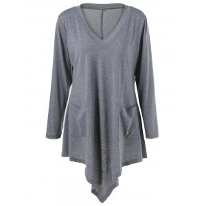 Plus Size Double Pockets Asymmetrical T-Shirt
