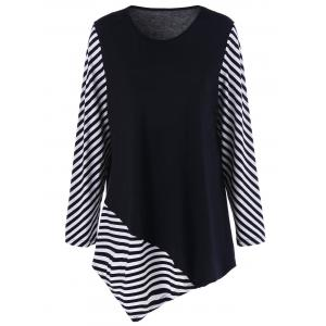 Plus Size Striped Trim Asymmetrical T-Shirt