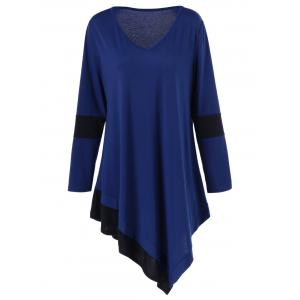 Long Sleeve Plus Size Longline Asymmetrical T-Shirt
