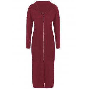 Plus Size Zip Front Bodycon Hooded Dress with Long Sleeves - Dark Red - Xl