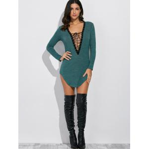 Plunging Neck Long Sleeve Lace Up Dress - GRASS GREEN L