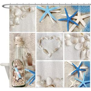 Starfish Shell Mouldproof Waterproof Bath Curtain - Colormix - 180cm*180cm