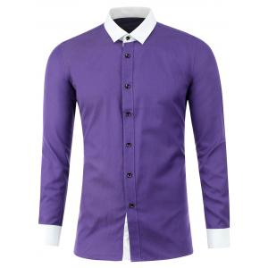 Button Up Two Tone Texture Shirt