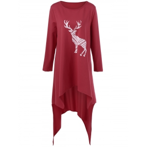 Deer Print Plus Size Asymmetric T-Shirt - Red - 5xl