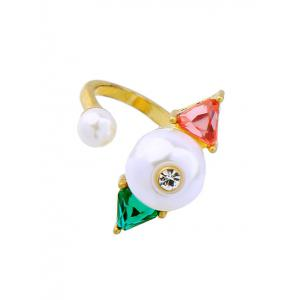 Artificial Gem Pearl Triangle Ring
