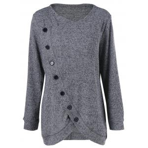 Long Sleeve Plus Size Button Up Overlap Cardigan - Gray - 2xl