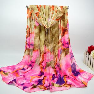 Cotton Blend Chiffon Scarf with Big Floral Oil Painting - Khaki