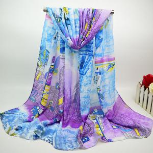 Cotton Blend Chiffon Scarf with City Street Painting